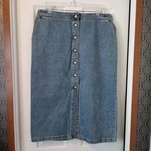 Levi's Button Up Front Midi Denim Jean Skirt - 16